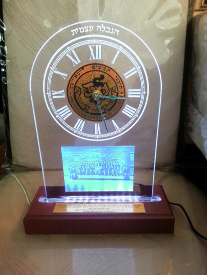 Acrylic award with LED wood base